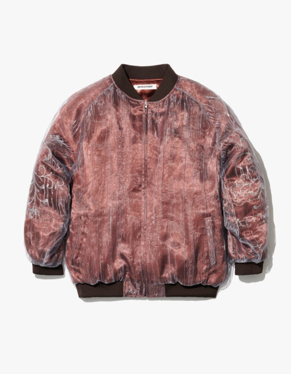 MISCHIEF Organza Layered Bomber Jacket - Red Brown | HEIGHTS. | 하이츠 온라인 스토어